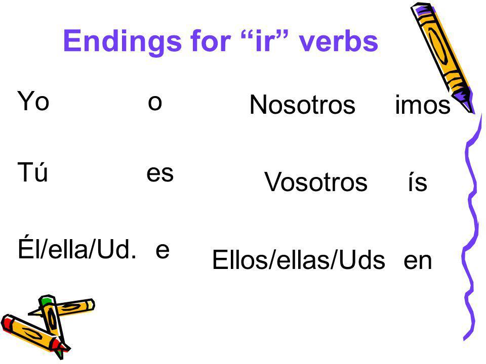 Endings for ir verbs Yo o Tú es Él/ella/Ud. e Nosotros imos Vosotros ís Ellos/ellas/Uds en