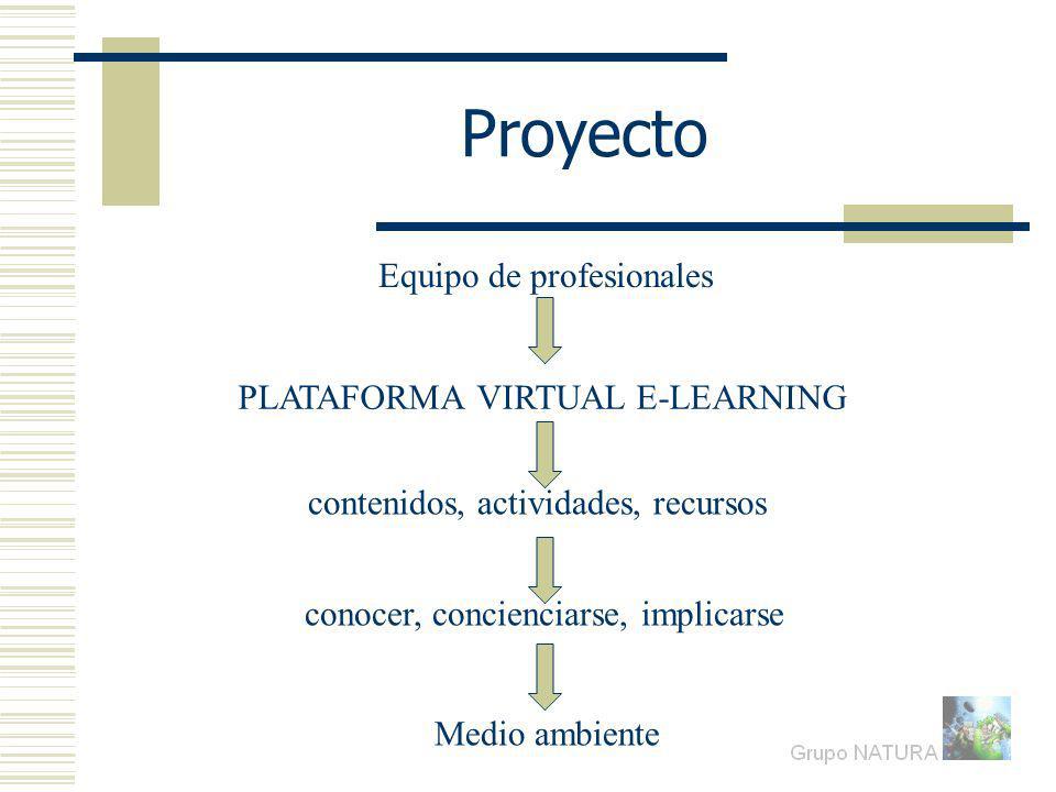Proyecto PLATAFORMA VIRTUAL E-LEARNING conocer, concienciarse, implicarse Medio ambiente contenidos, actividades, recursos Equipo de profesionales