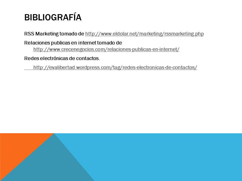 BIBLIOGRAFÍA RSS Marketing tomado de http://www.eldolar.net/marketing/rssmarketing.phphttp://www.eldolar.net/marketing/rssmarketing.php Relaciones pub