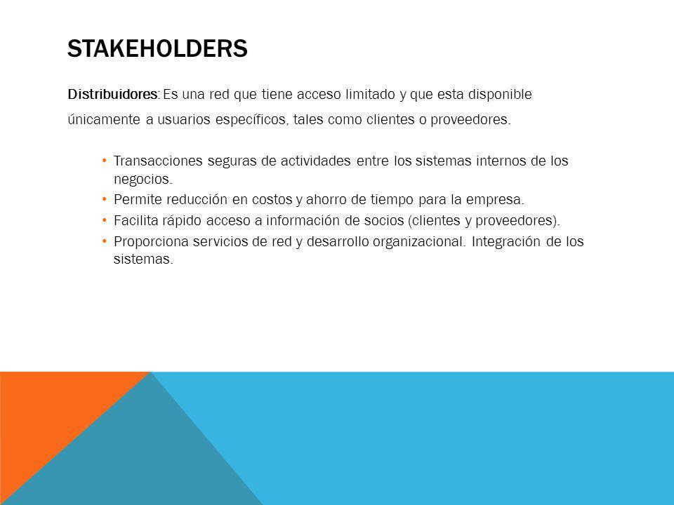 STAKEHOLDERS Distribuidores: Es una red que tiene acceso limitado y que esta disponible únicamente a usuarios específicos, tales como clientes o prove