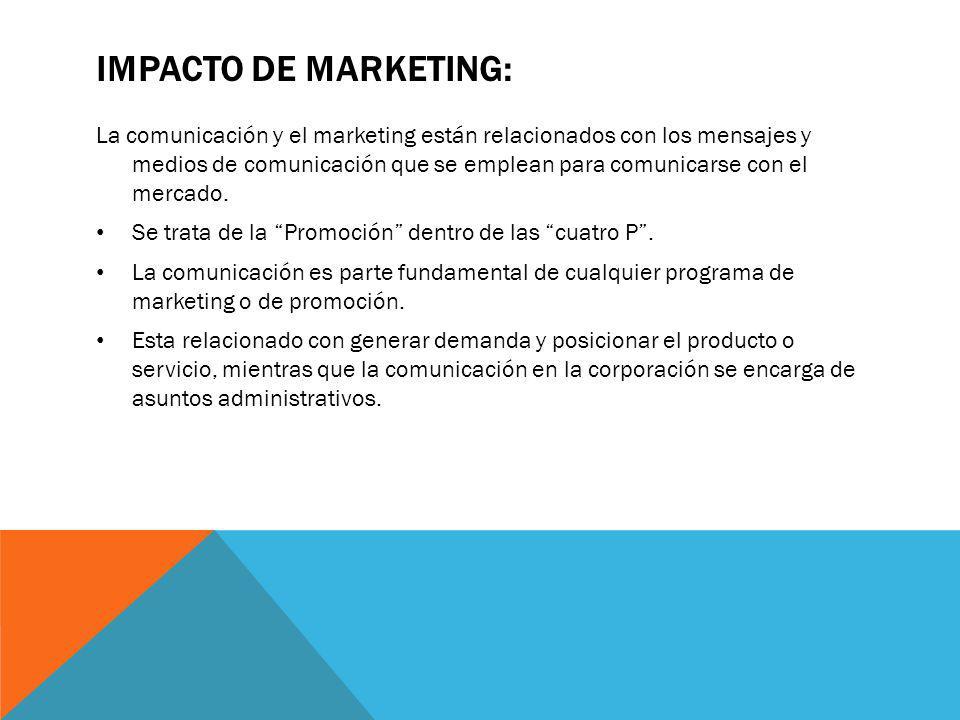 IMPACTO DE MARKETING: La comunicación y el marketing están relacionados con los mensajes y medios de comunicación que se emplean para comunicarse con