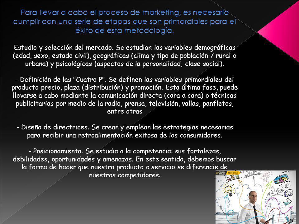 Para llevar a cabo el proceso de marketing, es necesario cumplir con una serie de etapas que son primordiales para el éxito de esta metodología. Estud