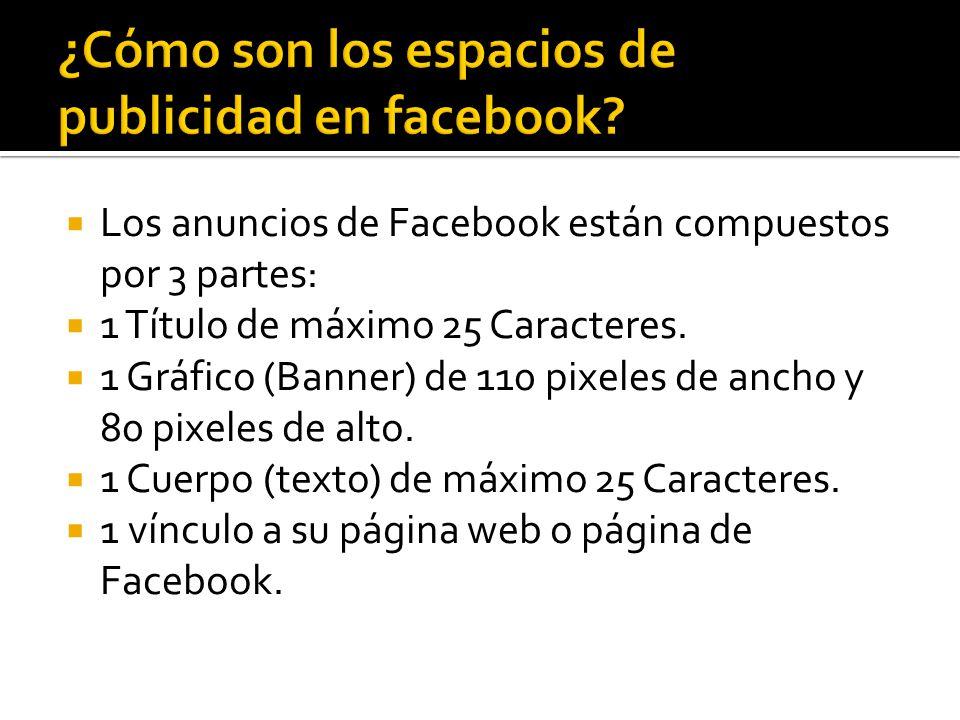 Los anuncios de Facebook están compuestos por 3 partes: 1 Título de máximo 25 Caracteres.