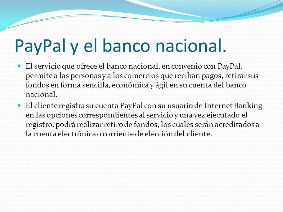 PayPal y el banco nacional.