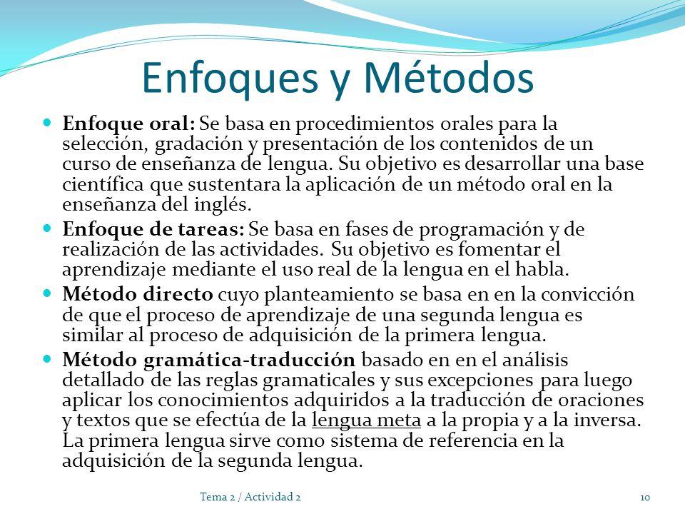 Enfoques y Métodos Enfoque oral: Se basa en procedimientos orales para la selección, gradación y presentación de los contenidos de un curso de enseñanza de lengua.