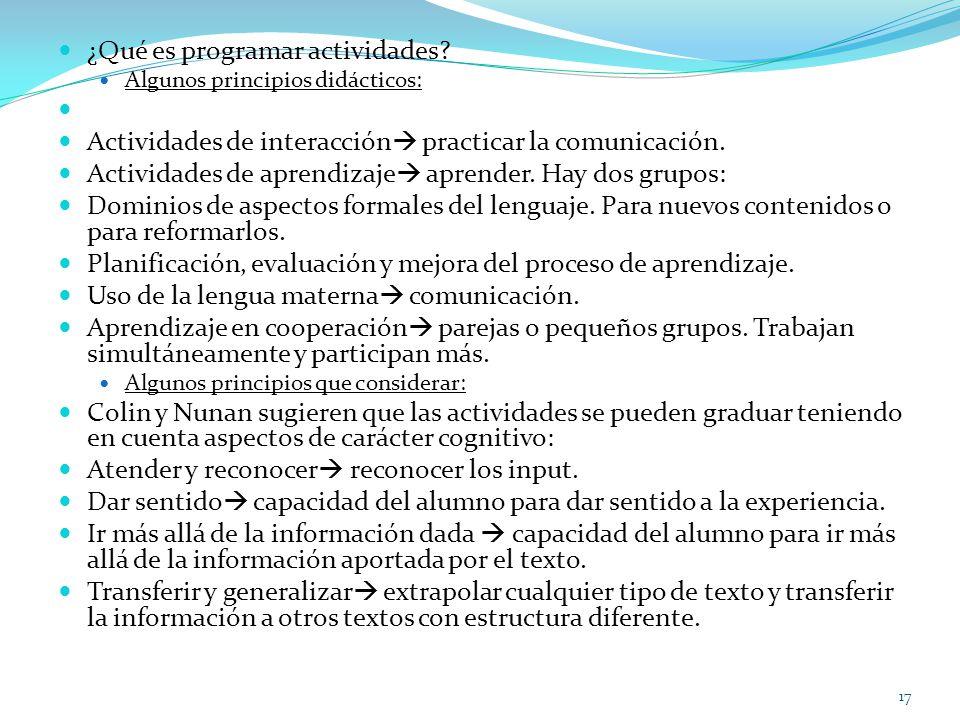 ¿Qué es programar actividades? Algunos principios didácticos: Actividades de interacción practicar la comunicación. Actividades de aprendizaje aprende
