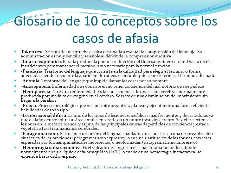 Glosario de 10 conceptos sobre los casos de afasia Token test.