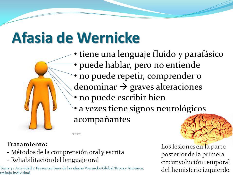 Afasia de Wernicke tiene una lenguaje fluido y parafásico puede hablar, pero no entiende no puede repetir, comprender o denominar graves alteraciones no puede escribir bien a vezes tiene signos neurológicos acompañantes Los lesiones en la parte posterior de la primera circunvolución temporal del hemisferio izquierdo.