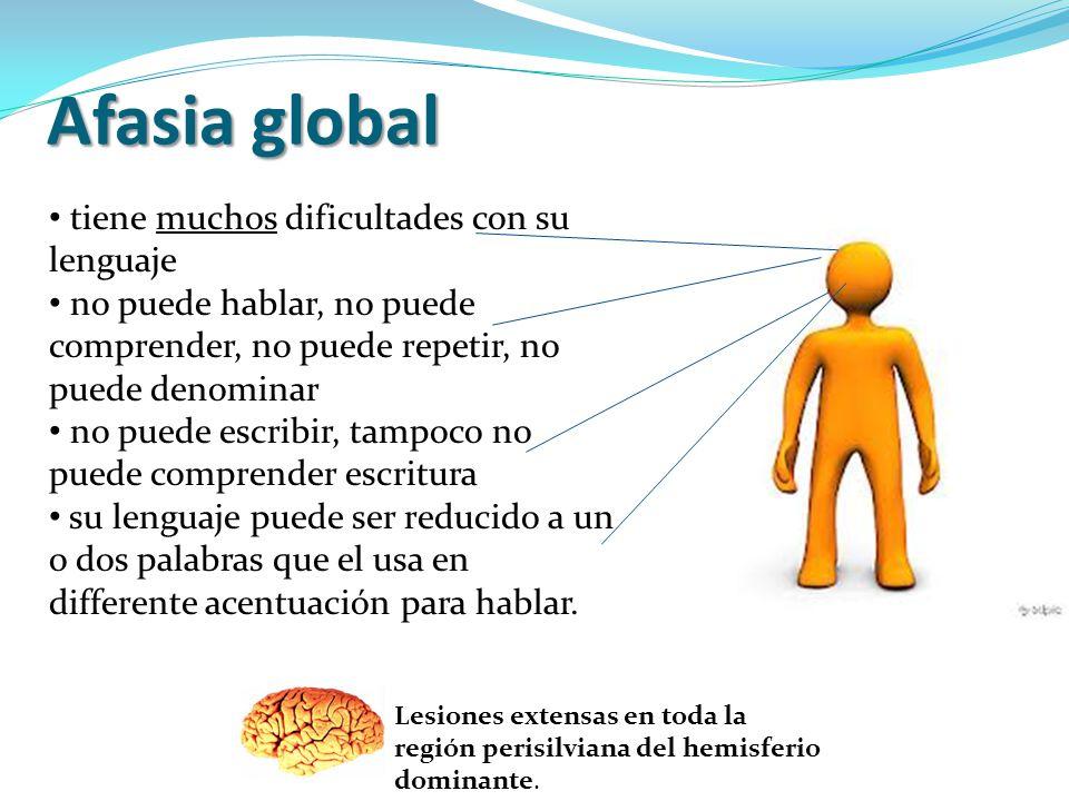 Afasia global tiene muchos dificultades con su lenguaje no puede hablar, no puede comprender, no puede repetir, no puede denominar no puede escribir,
