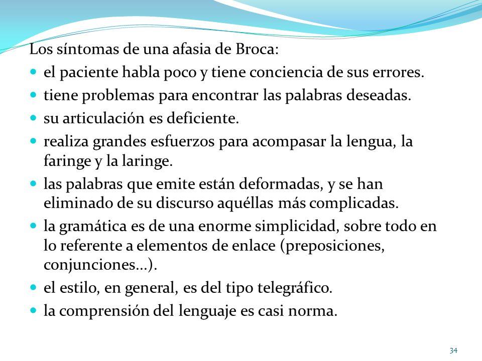 Los síntomas de una afasia de Broca: el paciente habla poco y tiene conciencia de sus errores. tiene problemas para encontrar las palabras deseadas. s