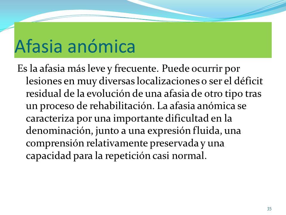 Afasia anómica Es la afasia más leve y frecuente. Puede ocurrir por lesiones en muy diversas localizaciones o ser el déficit residual de la evolución