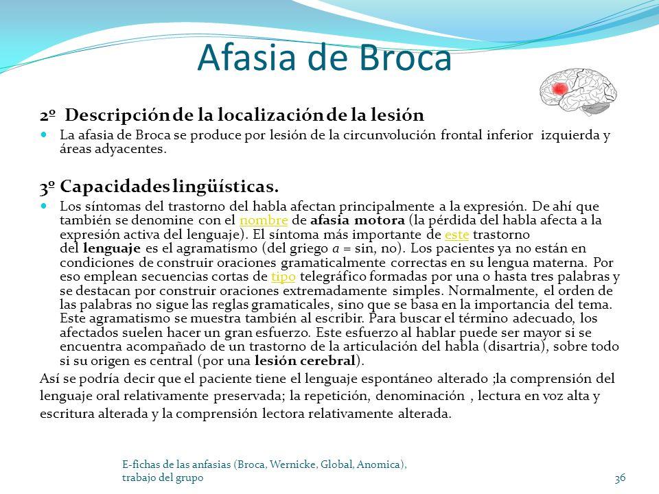 Afasia de Broca 2º Descripción de la localización de la lesión La afasia de Broca se produce por lesión de la circunvolución frontal inferior izquierd