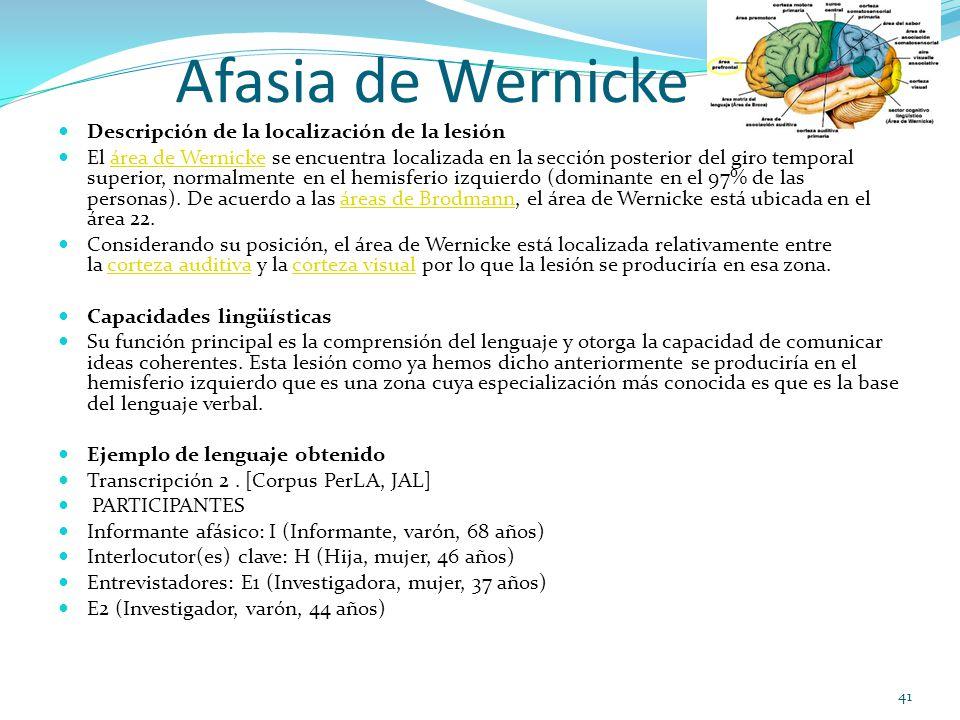 Afasia de Wernicke Descripción de la localización de la lesión El área de Wernicke se encuentra localizada en la sección posterior del giro temporal superior, normalmente en el hemisferio izquierdo (dominante en el 97% de las personas).