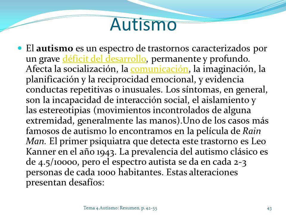 Autismo El autismo es un espectro de trastornos caracterizados por un grave déficit del desarrollo, permanente y profundo. Afecta la socialización, la