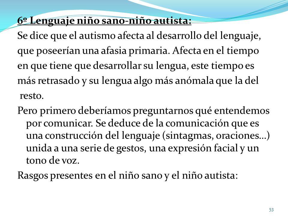 6º Lenguaje niño sano-niño autista: Se dice que el autismo afecta al desarrollo del lenguaje, que poseerían una afasia primaria. Afecta en el tiempo e