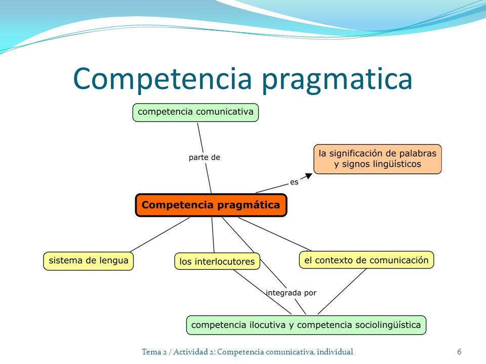 Competencia pragmatica 6Tema 2 / Actividad 2: Competencia comunicativa, individual
