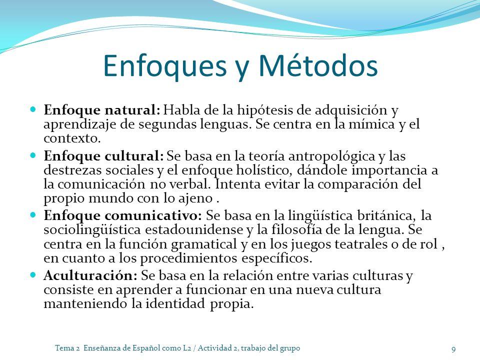 Enfoques y Métodos Enfoque natural: Habla de la hipótesis de adquisición y aprendizaje de segundas lenguas. Se centra en la mímica y el contexto. Enfo