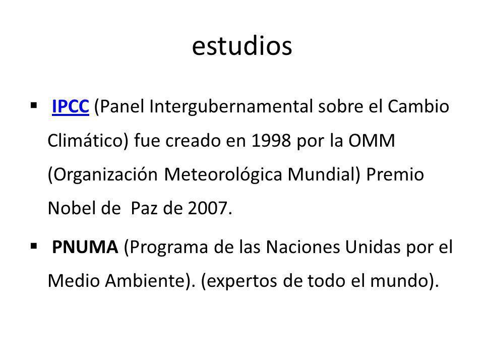 estudios IPCC (Panel Intergubernamental sobre el Cambio Climático) fue creado en 1998 por la OMM (Organización Meteorológica Mundial) Premio Nobel de