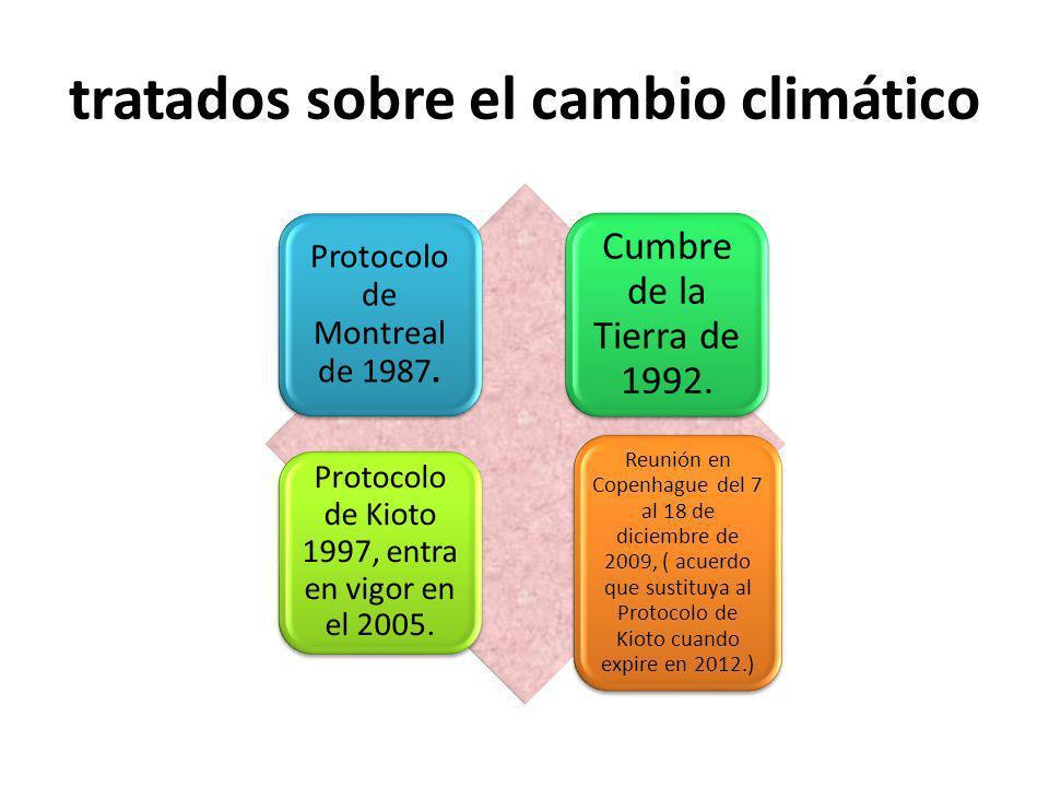 tratados sobre el cambio climático Protocolo de Montreal de 1987. Cumbre de la Tierra de 1992. Protocolo de Kioto 1997, entra en vigor en el 2005. Reu