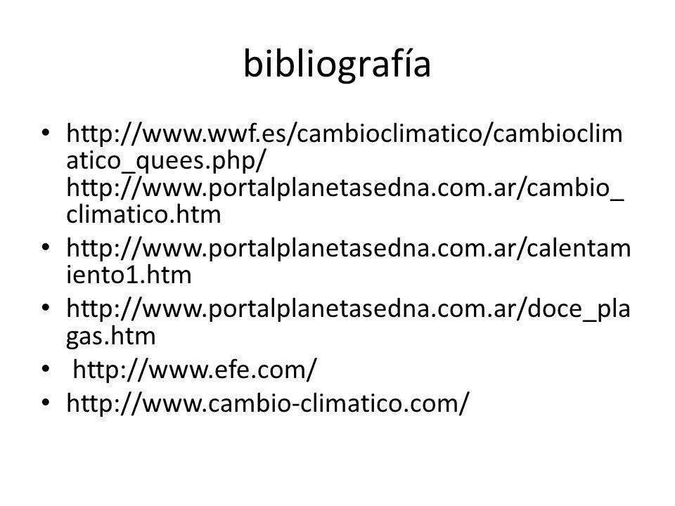 bibliografía http://www.wwf.es/cambioclimatico/cambioclim atico_quees.php/ http://www.portalplanetasedna.com.ar/cambio_ climatico.htm http://www.porta