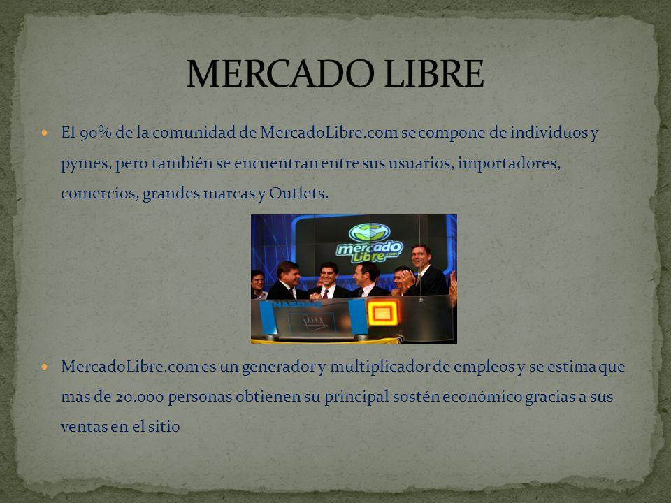 El 90% de la comunidad de MercadoLibre.com se compone de individuos y pymes, pero también se encuentran entre sus usuarios, importadores, comercios, grandes marcas y Outlets.