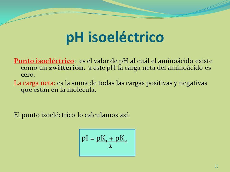 pI = pK 1 + pK 2 pH isoeléctrico Punto isoeléctrico: es el valor de pH al cuál el aminoácido existe como un zwitterión, a este pH la carga neta del am