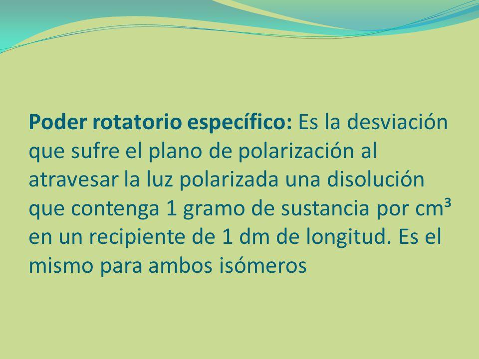 Poder rotatorio específico: Es la desviación que sufre el plano de polarización al atravesar la luz polarizada una disolución que contenga 1 gramo de