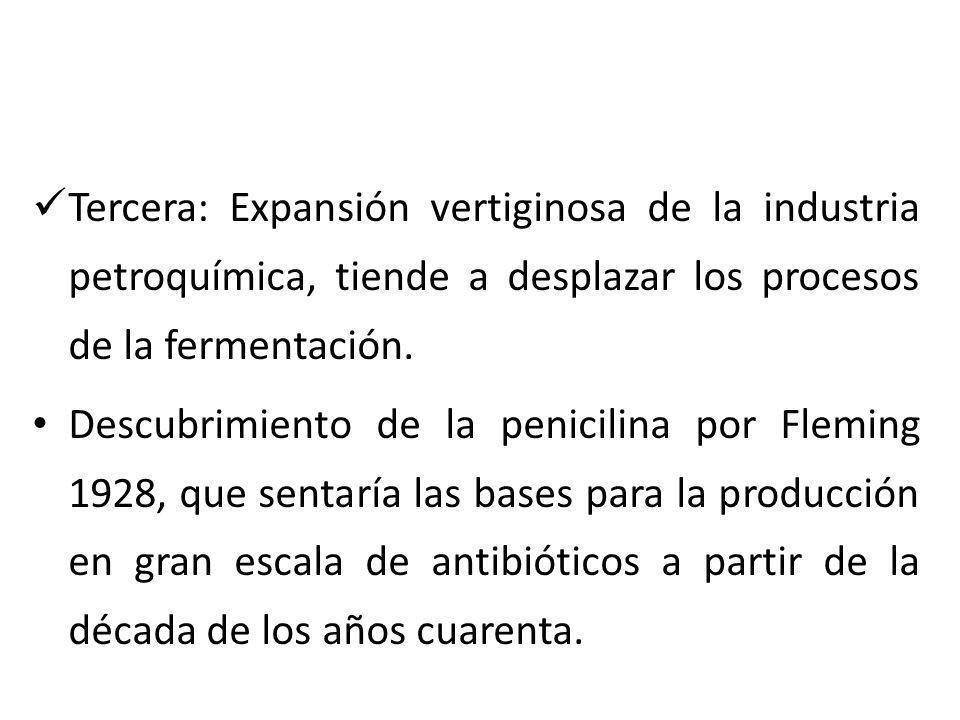 Tercera: Expansión vertiginosa de la industria petroquímica, tiende a desplazar los procesos de la fermentación. Descubrimiento de la penicilina por F