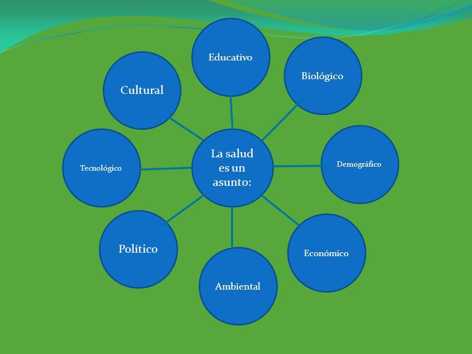 La salud es un asunto: Educativo Ambiental Demográfico Tecnológico Biológico Cultural Político Económico