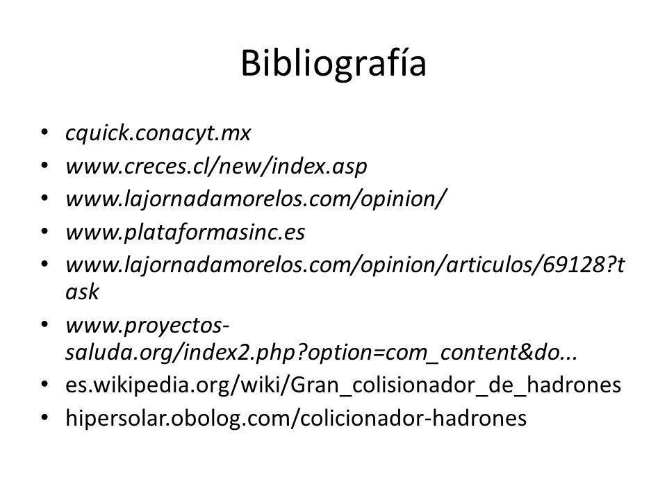 Bibliografía cquick.conacyt.mx www.creces.cl/new/index.asp www.lajornadamorelos.com/opinion/ www.plataformasinc.es www.lajornadamorelos.com/opinion/ar