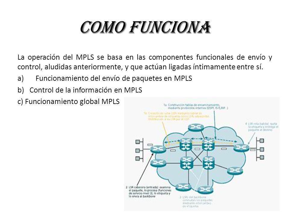 Como Funciona La operación del MPLS se basa en las componentes funcionales de envío y control, aludidas anteriormente, y que actúan ligadas íntimament