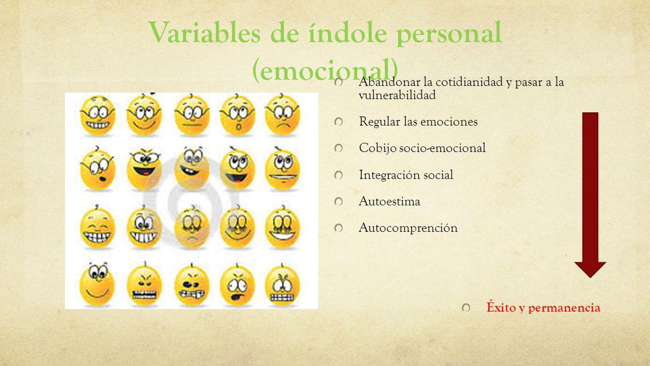 Variables de índole personal (emocional) Abandonar la cotidianidad y pasar a la vulnerabilidad Regular las emociones Cobijo socio-emocional Integració