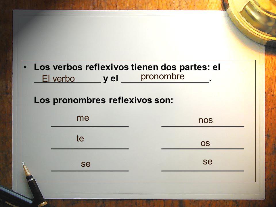 Los verbos reflexivos tienen dos partes: el _____________ y el _________________. Los pronombres reflexivos son: _______________________________ _____