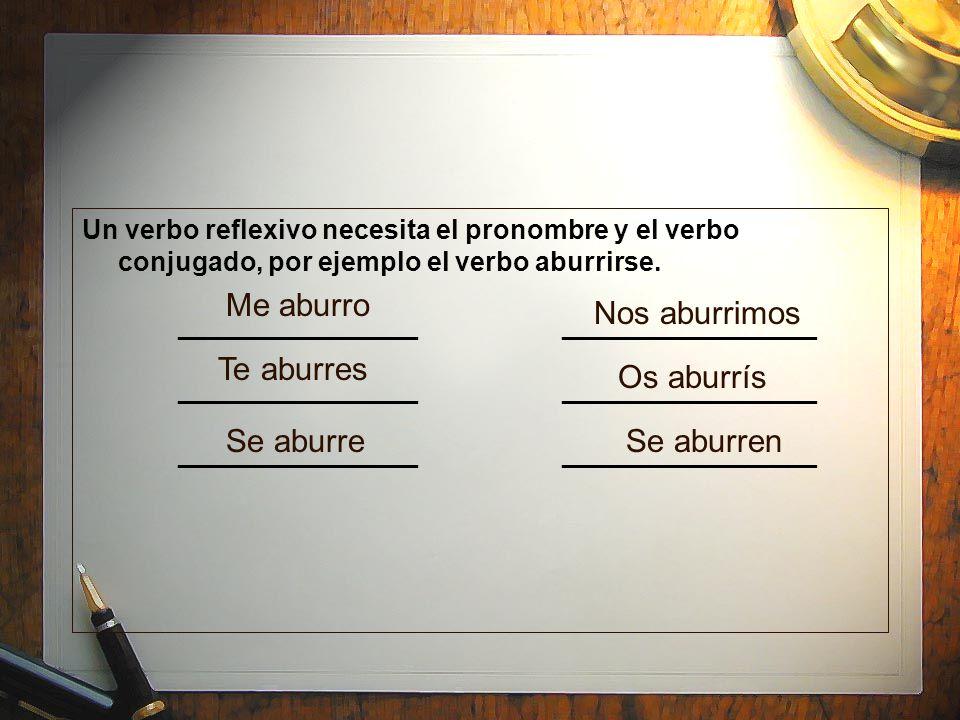 Un verbo reflexivo necesita el pronombre y el verbo conjugado, por ejemplo el verbo aburrirse. _________________________________ _____________________