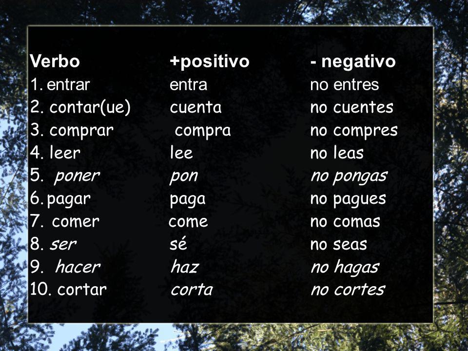 Verbo+positivo- negativo 1.entrarentrano entres 2.