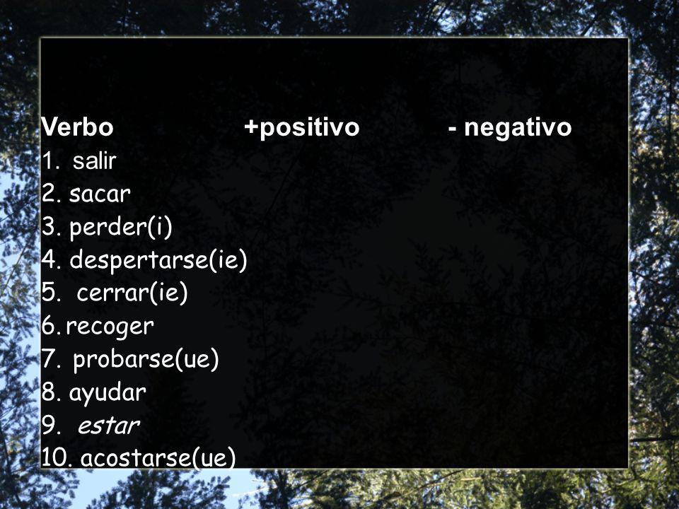 Verbo+positivo- negativo 1. salir 2. sacar 3. perder(i) 4.