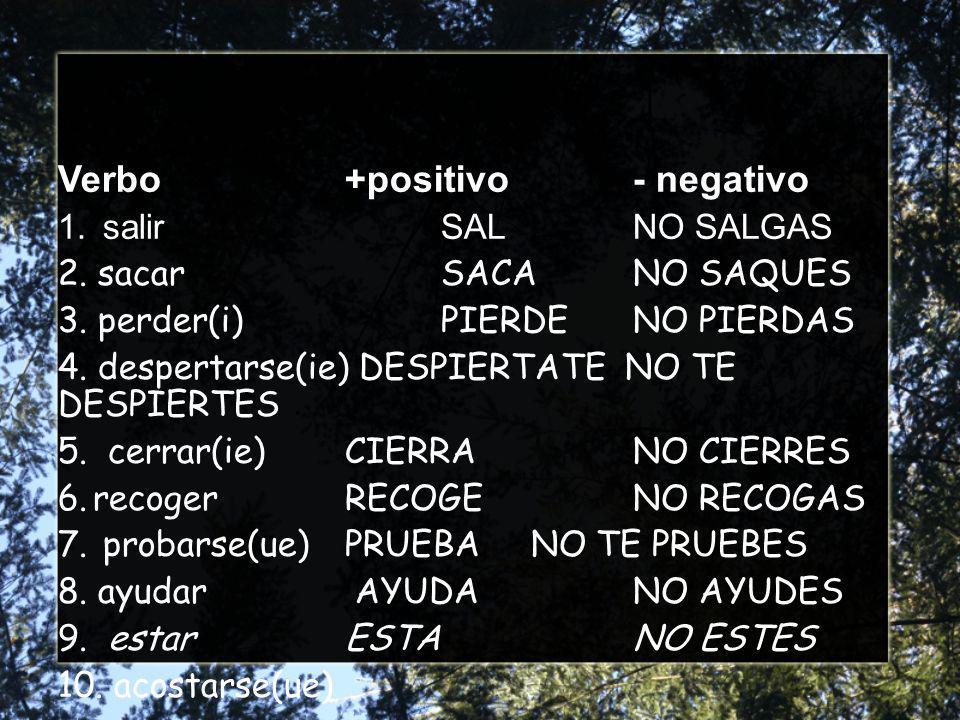 Verbo+positivo- negativo 1. salirSALNO SALGAS 2. sacarSACANO SAQUES 3.