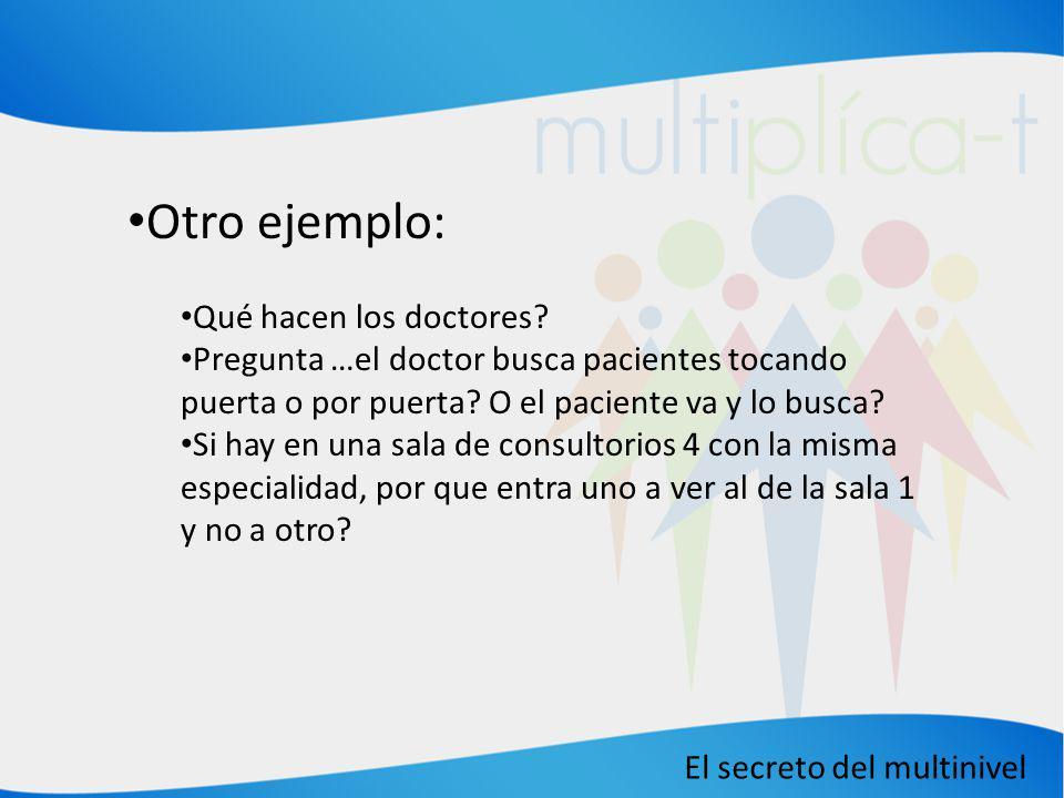 El secreto del multinivel Otro ejemplo: Qué hacen los doctores? Pregunta …el doctor busca pacientes tocando puerta o por puerta? O el paciente va y lo