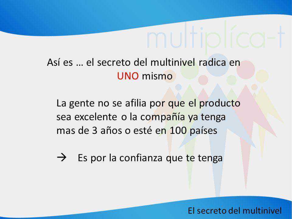 El secreto del multinivel Así es … el secreto del multinivel radica en UNO mismo La gente no se afilia por que el producto sea excelente o la compañía