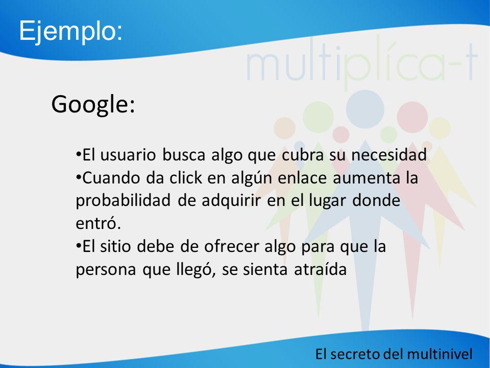 El secreto del multinivel Google: El usuario busca algo que cubra su necesidad Cuando da click en algún enlace aumenta la probabilidad de adquirir en