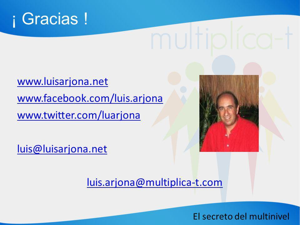 El secreto del multinivel www.luisarjona.net www.facebook.com/luis.arjona www.twitter.com/luarjona luis@luisarjona.net luis.arjona@multiplica-t.com ¡