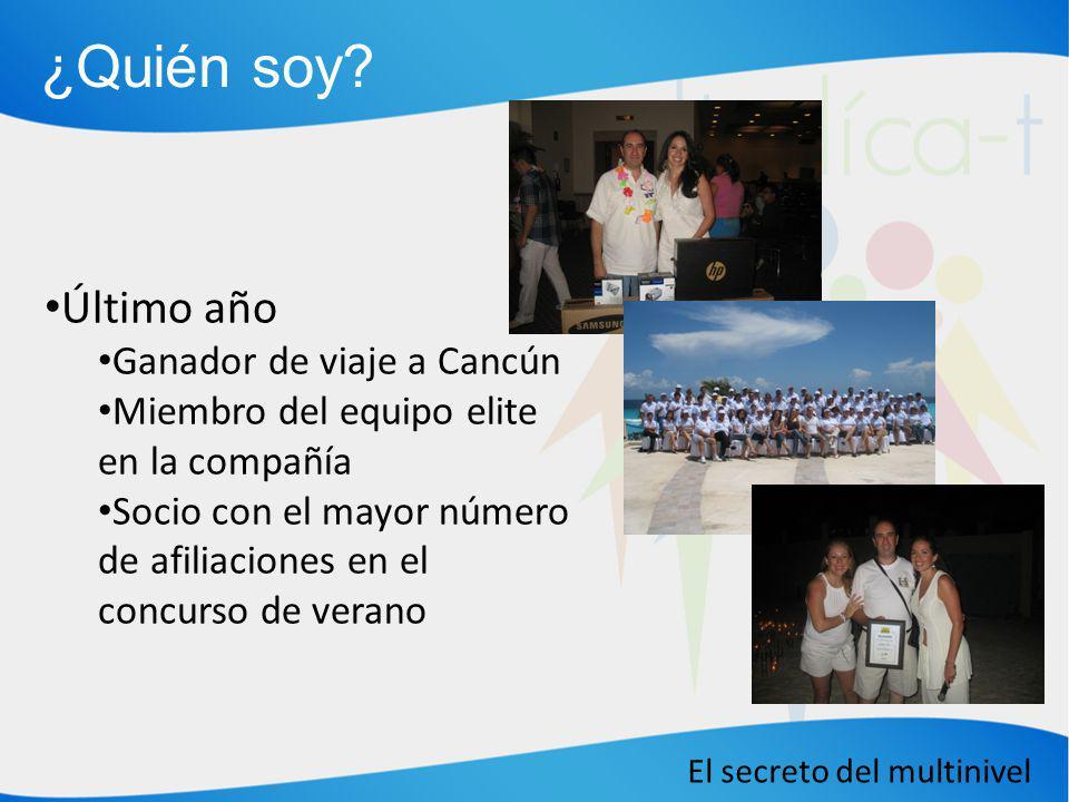 El secreto del multinivel ¿Quién soy? Último año Ganador de viaje a Cancún Miembro del equipo elite en la compañía Socio con el mayor número de afilia
