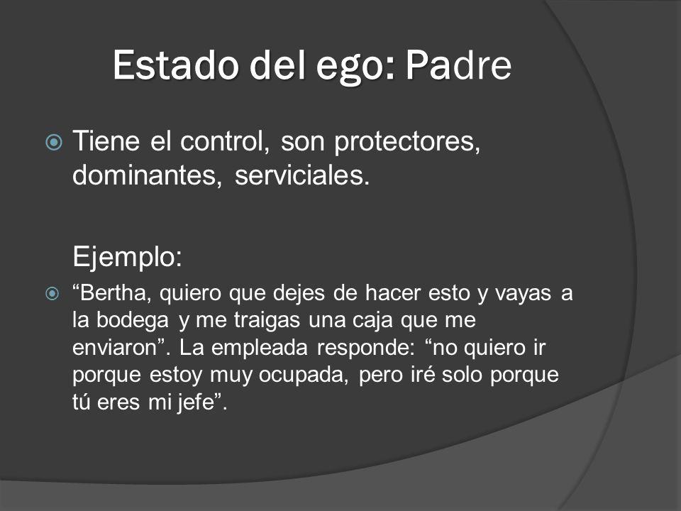Estado del ego: Pa Estado del ego: Padre Tiene el control, son protectores, dominantes, serviciales. Ejemplo: Bertha, quiero que dejes de hacer esto y