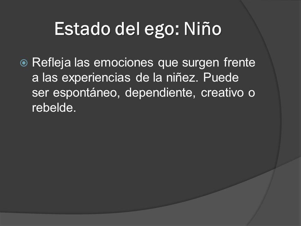 Estado del ego: Niño Refleja las emociones que surgen frente a las experiencias de la niñez. Puede ser espontáneo, dependiente, creativo o rebelde.
