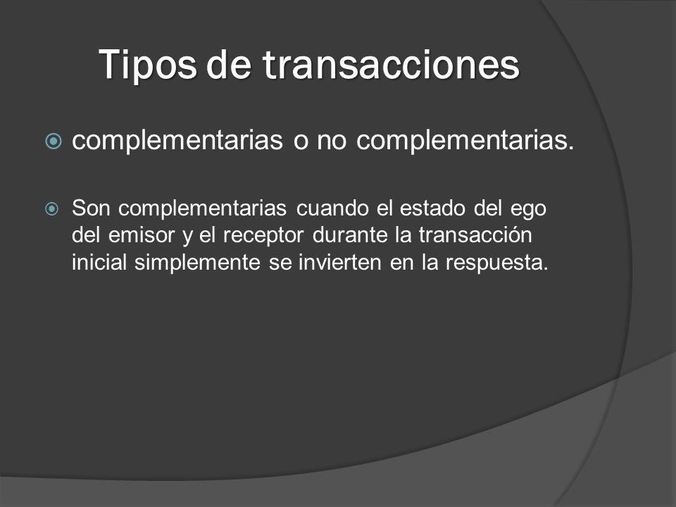 Tipos de transacciones complementarias o no complementarias. Son complementarias cuando el estado del ego del emisor y el receptor durante la transacc