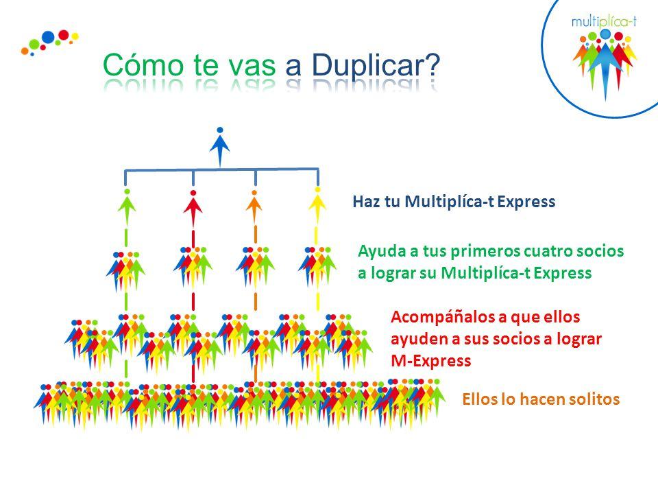 Haz tu Multiplíca-t Express Ayuda a tus primeros cuatro socios a lograr su Multiplíca-t Express Acompáñalos a que ellos ayuden a sus socios a lograr M-Express Ellos lo hacen solitos
