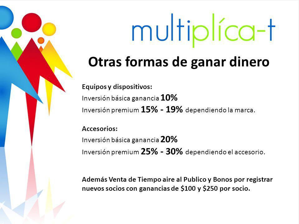 Gracia s Otras formas de ganar dinero Equipos y dispositivos: Inversión básica ganancia 10% Inversión premium 15% - 19% dependiendo la marca.