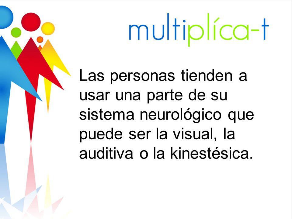 Las personas tienden a usar una parte de su sistema neurológico que puede ser la visual, la auditiva o la kinestésica.