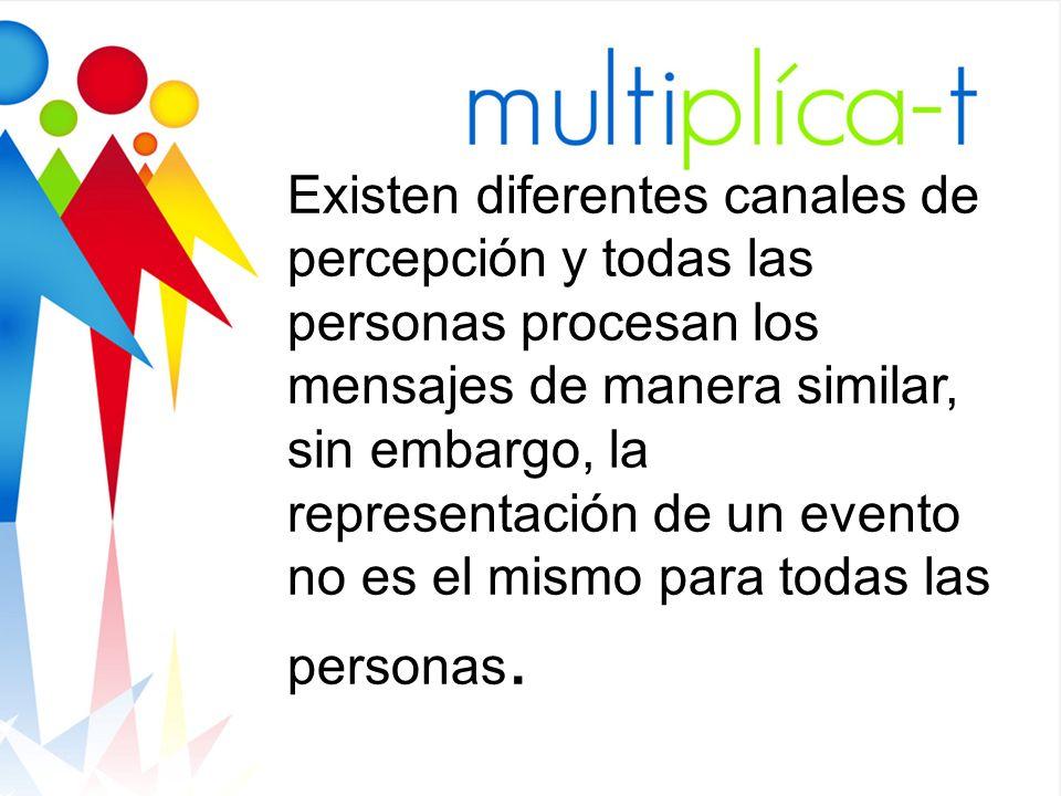Existen diferentes canales de percepción y todas las personas procesan los mensajes de manera similar, sin embargo, la representación de un evento no