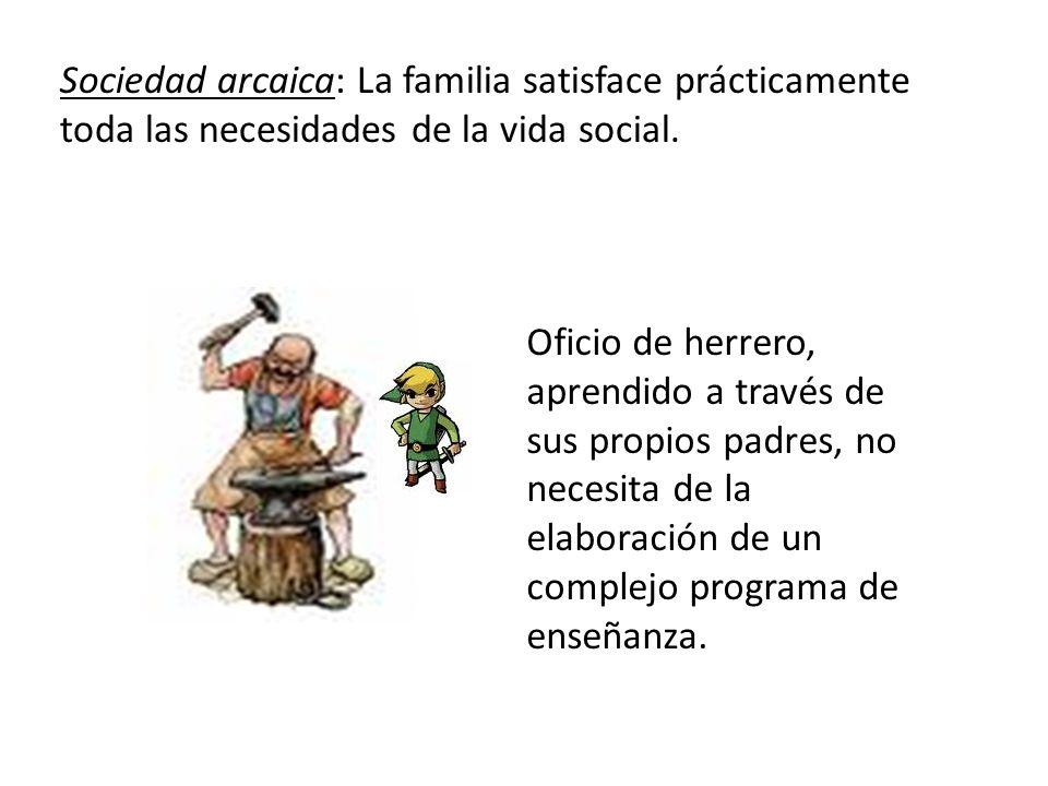 Sociedad arcaica: La familia satisface prácticamente toda las necesidades de la vida social. Oficio de herrero, aprendido a través de sus propios padr